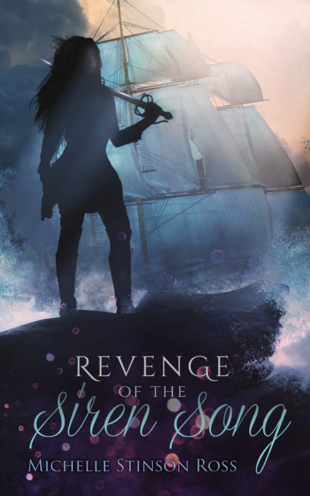 Book cover for Revenge of the Siren Song featuring a female pirate, a ship in full sale, and billowing clowds